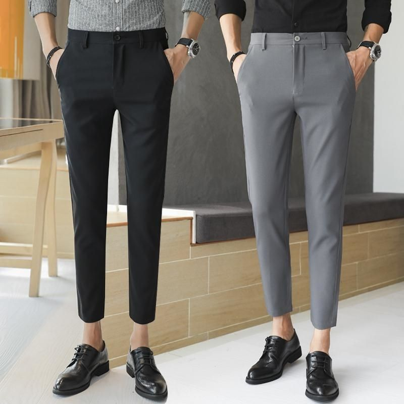 2020 Men's Hairdresser Trendy Korean Version Of Small-legged English Casual Pants For Men To Trim Nine-point Pants