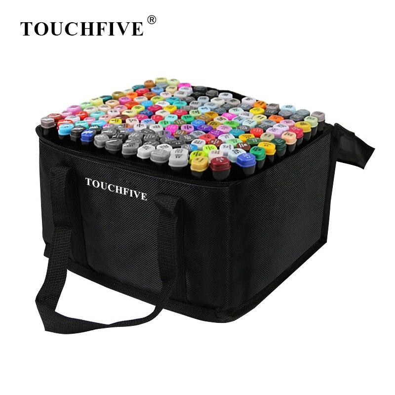 TouchFIVE 30/40/60/80/168 цветные маркеры манга маркеры для рисования ручка на спиртовой основе эскиз фетровый наконечник двойная Кисть ручка товары д...