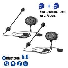 1000M Bluetooth 5.0 Motorcycle Helmet Intercom Waterproof Wireless Handsfree Motor Headset Interphone Fm Radio for 2 Riders