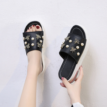 Women Sandals Pearl Casual Women Shoes Fashion Wedge Sandals Open Toe Solid Soft Leather Shoes Ladies Slippers Women Flat Shoes bohemian sandals for women wedge shoes crystal decoration grey army green shoes ladies cute casual shoes rhinestone sandals