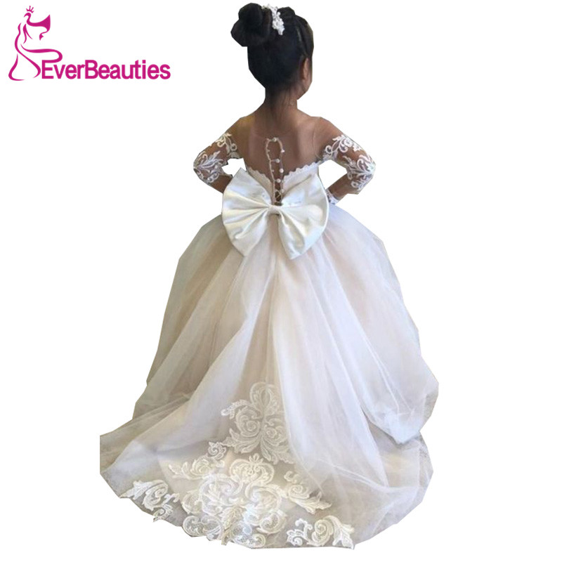 Communion Dresses Ball Gown Flower Girl Dresses 2020 Tulle Lace Long Sleeves Cute Girl Party Dress Vestidos De Comunion