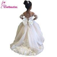 Communion Dresses Ball Gown Flower Girl Dresses 2020 Tulle Lace Long Sleeves Cute Girl Party Dress Vestidos De Comunion