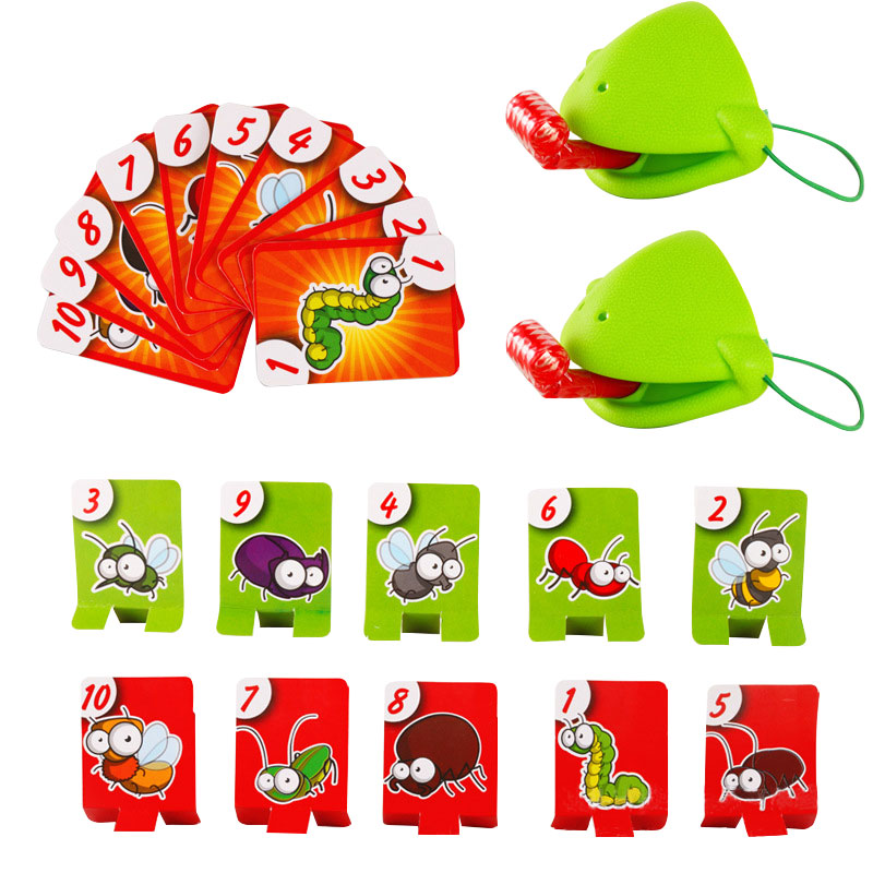Pudcoco Chameleon Lizard Mask Wagging Tongue Lick Cards Board Game For Children Family Party Toys Funny Desktop Game Toys