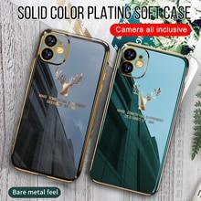 Baixin para iphone x caso chapeamento casos macios de luxo para iphone 8 7 6 11 12pro max xr xs max caso elk padrão anti knock 12 capa