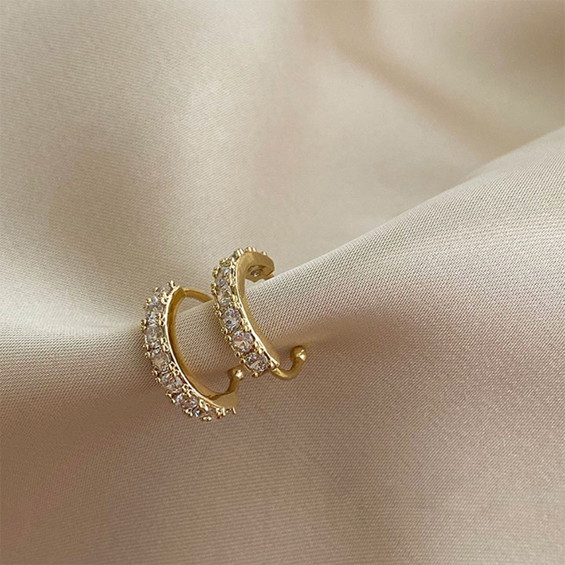 Crystal Ear Cuff Earring for Women Gold Color C-Shape Without Piercing Statement Small Earring Bridal Wedding Ear Clip Jewelry