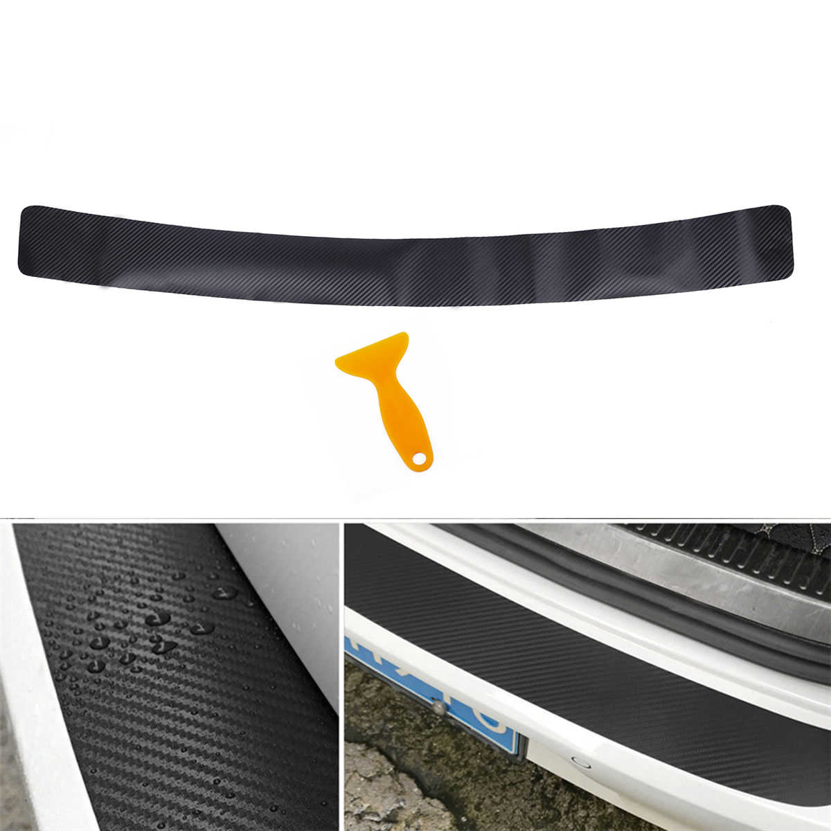 Car Styling Rear Trunk Carbon Fiber Protection Sticker For BMW E46 E90 E60 E36 F20 X5 Ford Focus 2 3 1 Peugeot 206 307 308 Saab