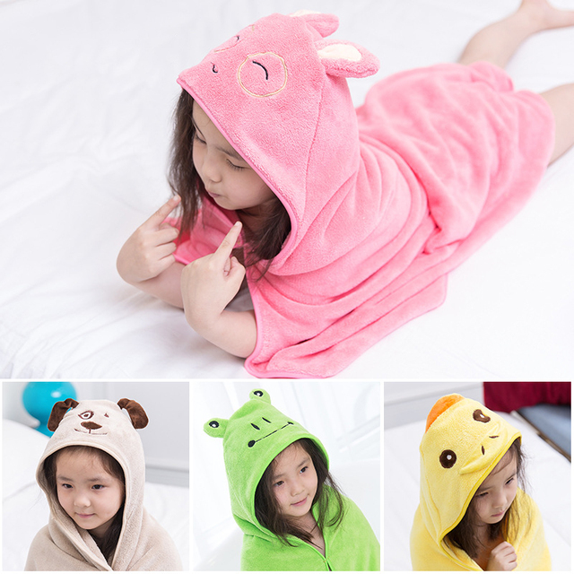 New Baby Newborn Bath Towel Cute Animal Cartoon Baby Hooded Bathrobe Beach Cotton Toddler Towel Kids Infant Babies Blanket