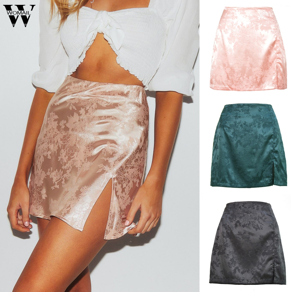 Womail Skirt Women Summer glossy satin trumpet high waist Pencil skirt mini Split Club Metallic Color party faldas jupe femme image