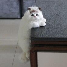 Simulação gato animal modelo decoração casa tv decoração pendurado gato artesanato brinquedo de pelúcia boneca presente boa bênção