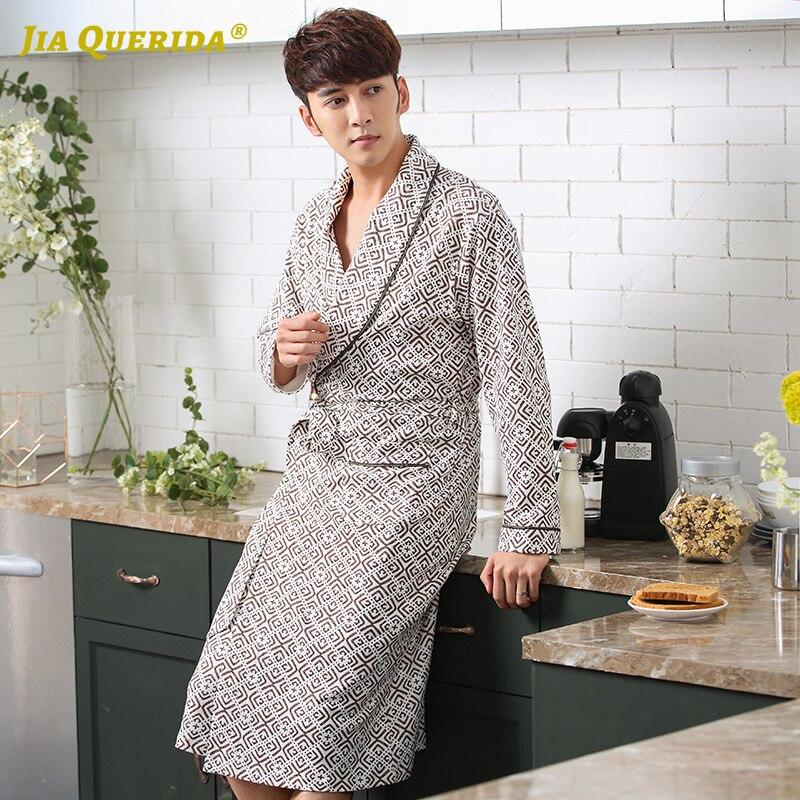 Mens Robes 100% Cotton Luxury Men Robe Plus Size Xxl Xxxl Cotton Nightgown Mens Bathrobes Long Sleeves Spring Fall Kimono Robes