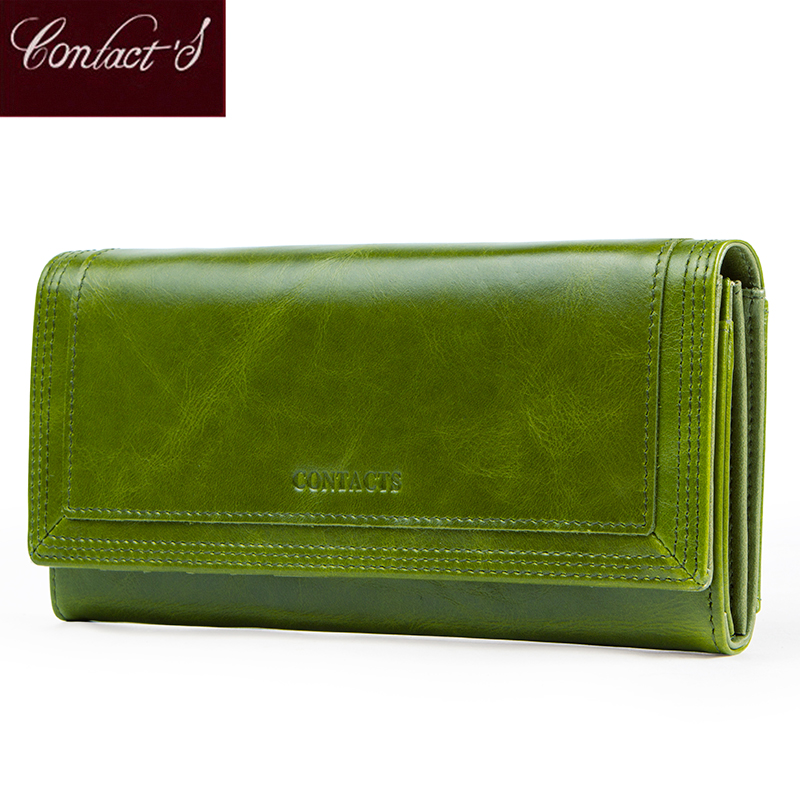 Contact's Fashion Women Wallets With Card Holder Genuine Leather Long Clutch Brand Design Female Coin Purses Cell Phone Pocket