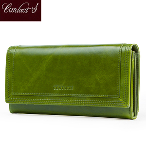Image 1 - Contacts Fashion Women Wallets With Card Holder Genuine Leather Long Clutch Brand Design Female Coin Purses Cell Phone Pocket