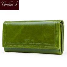 Portafogli da donna di moda di contatto con portacarte pochette lunga in vera pelle Design del marchio portamonete femminile tasca per cellulare