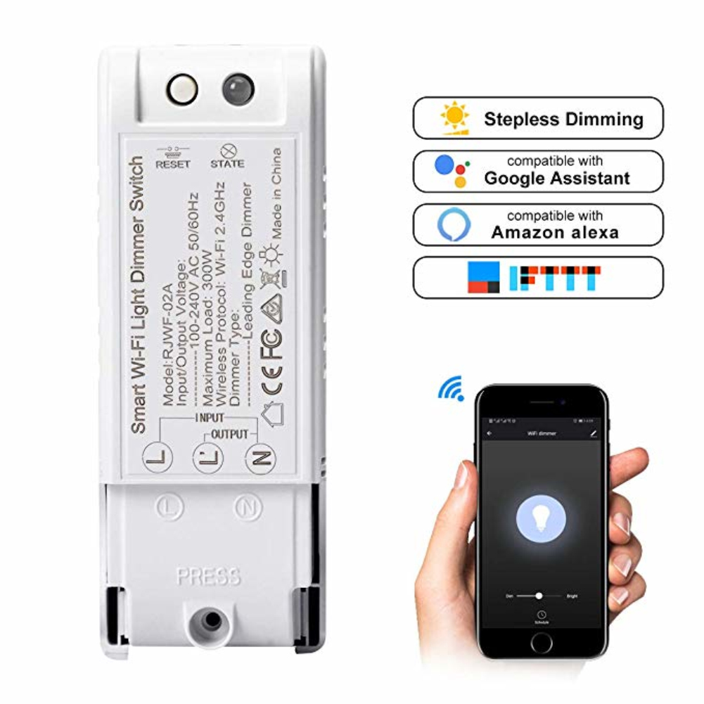 2.4GHz WiFi Smart Light Dimmer Switch DIY Wireless Breaker Module Voice APP Remote Control Work With Tuya APP Alexa Google Home