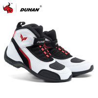 DUHAN Motorcycle Boots Summer Mesh Men Motorcycle Shoes Motocross Off Road Racing Boots Moto Boots Motorbike Black White