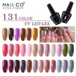 NAILCO 131 Colors Nail Gel UV LED Semi Permanent Nail Polish Varnish Hybrid 15ml Lacquer Need To Base And Top Coat Nail Art