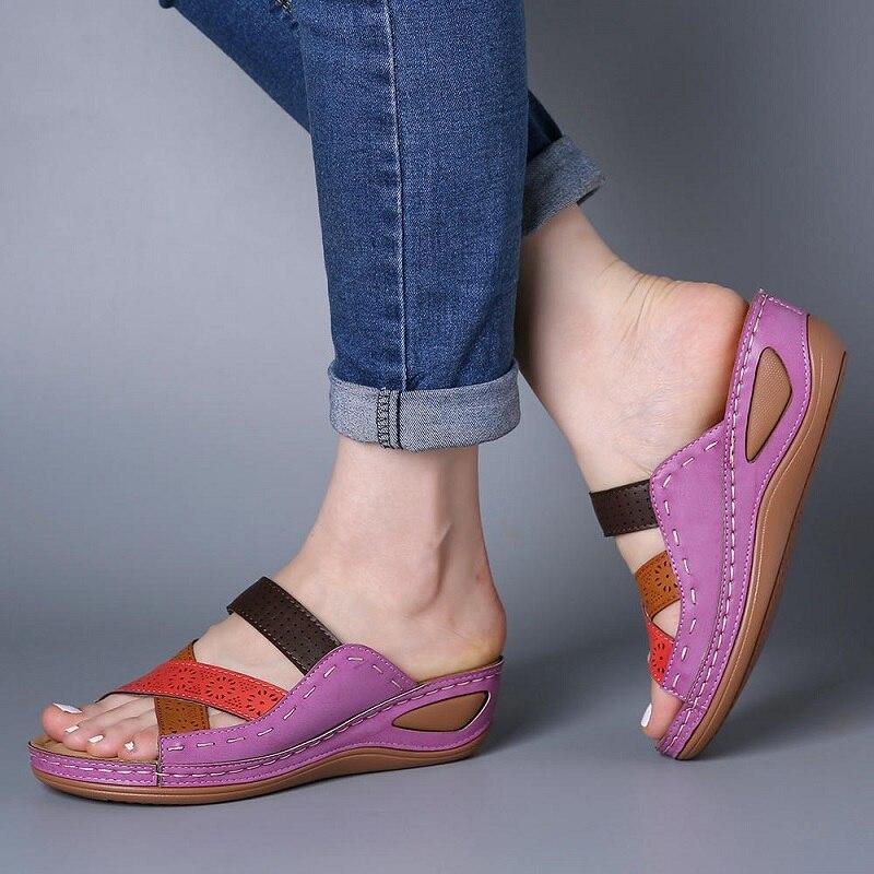 Женские босоножки; Летние босоножки на плоской платформе; Босоножки на танкетке с перекрестными ремешками; Износостойкая обувь в римском стиле; Женская обувь в стиле ретро; Chaussure Femme|Боссоножки и сандалии|   | АлиЭкспресс