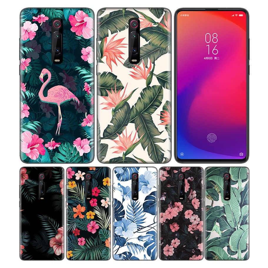 Black Rubber Silicone Case Cover for Xiaomi Mi A1 A2 A3 8 Lite Play 9T CC9 Redmi Note 5 7 6 A 7S Y3 K20 Pro Shell banana leaf pa