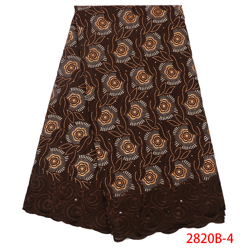 Swiss Voile Lace in Switzerland New Nigerian Lace Fabrics High Quality African Cotton Lace Fabric for Women KS2820B-4