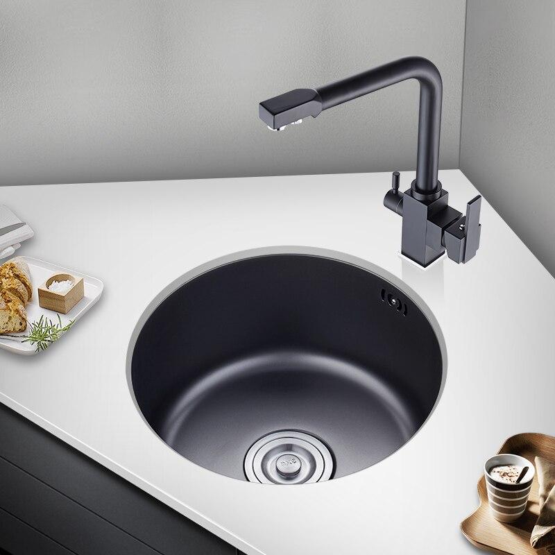 Black Nano Round Sink Single Slot 304 Stainless Steel Bar Balcony Kitchen Sink Undermount  HY201I