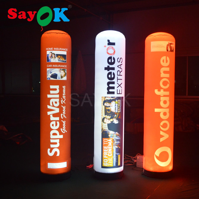 Tubo de columna inflable personalizado Sayok LED Pilar tubo LED que brilla en la oscuridad con luz LED para eventos de promoción publicitaria
