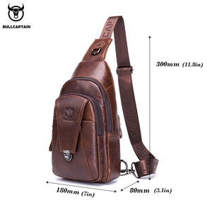 Image 5 - BULLCAPTAIN Genuine Leather Chest Back Pack chest bag men fashion Messenger bags Multifunctional card bages mobile phone bags