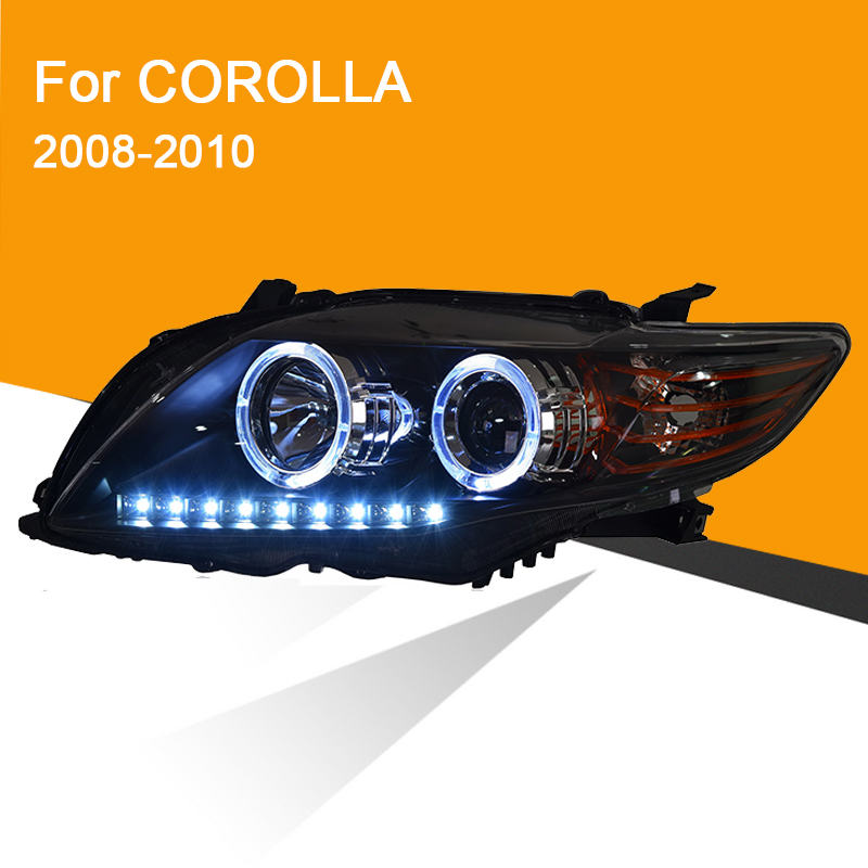 1 Pair Headlight Assembly For Corolla 2008 2009 2010 Left And Right Side With LED DRL Running Light And Yellow Turning Signal