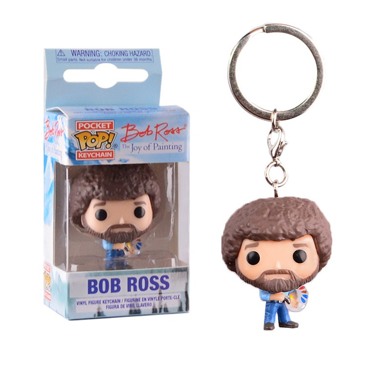 POP Pocket Pop Keychain Official The Joy Of Painting 4cm Bob Ross Pvc Action Figure Collection Children Toys Retail Box