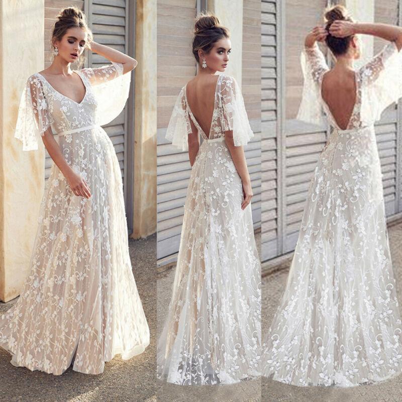 Women Lace Boho White Maxi Dress Half Flare Sleeve Dresses Lace Transparent Summer Dress Female Long Dresses Vestidos Femme