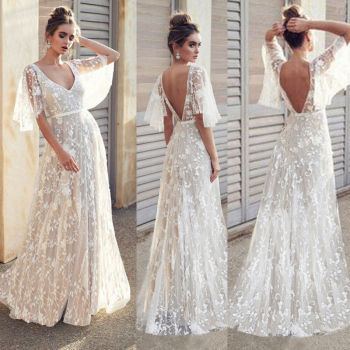 Women Lace Boho White Maxi Dress Half Flare Sleeve Dresses Transparent Summer Female Long Vestidos Femme