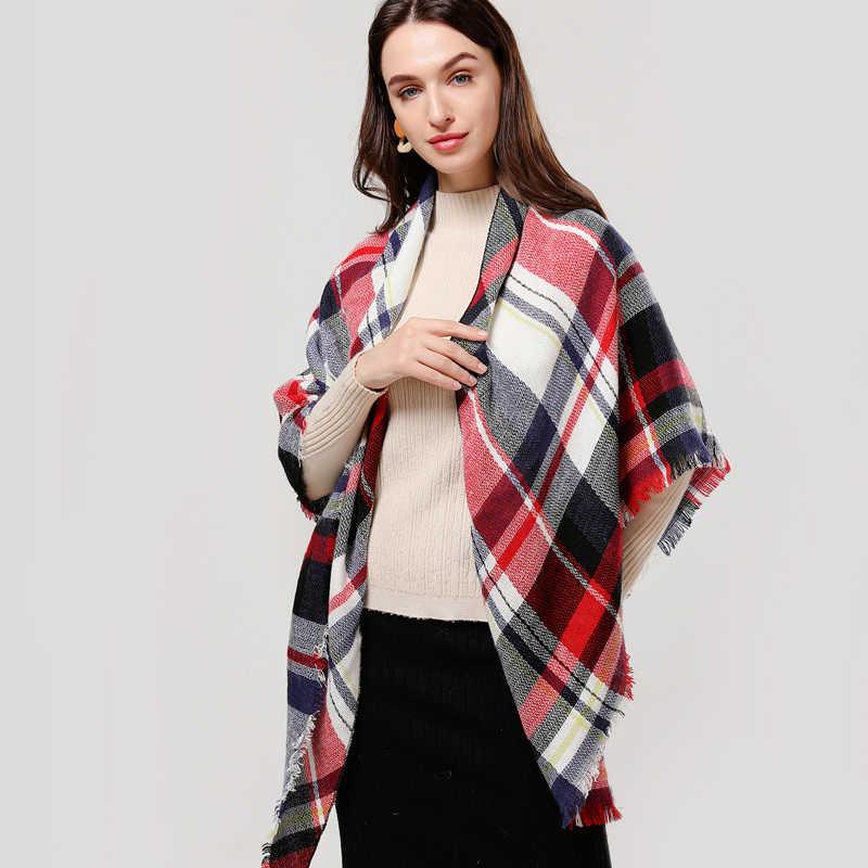 Designer 2020 molla ha lavorato a maglia di inverno delle donne plaid sciarpa di cachemire caldo sciarpe scialli di marca di lusso collo bandana pashmina della signora wrap