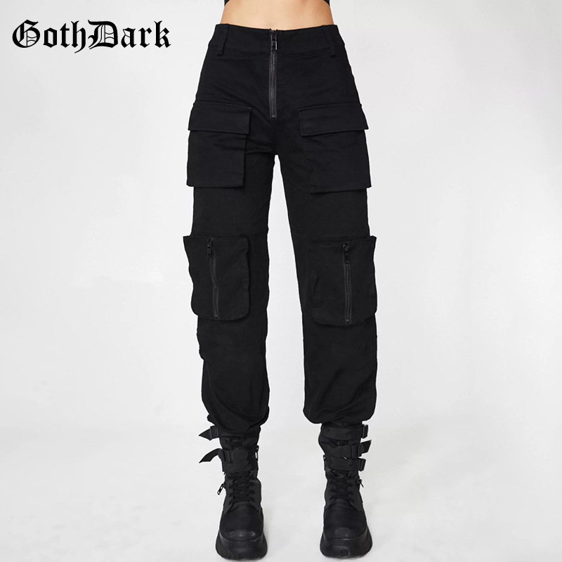 Gothic-Pants Pleated-Grunge Female Trousers Zipper-Pockets Punk-Patchwork Harajuku Black title=