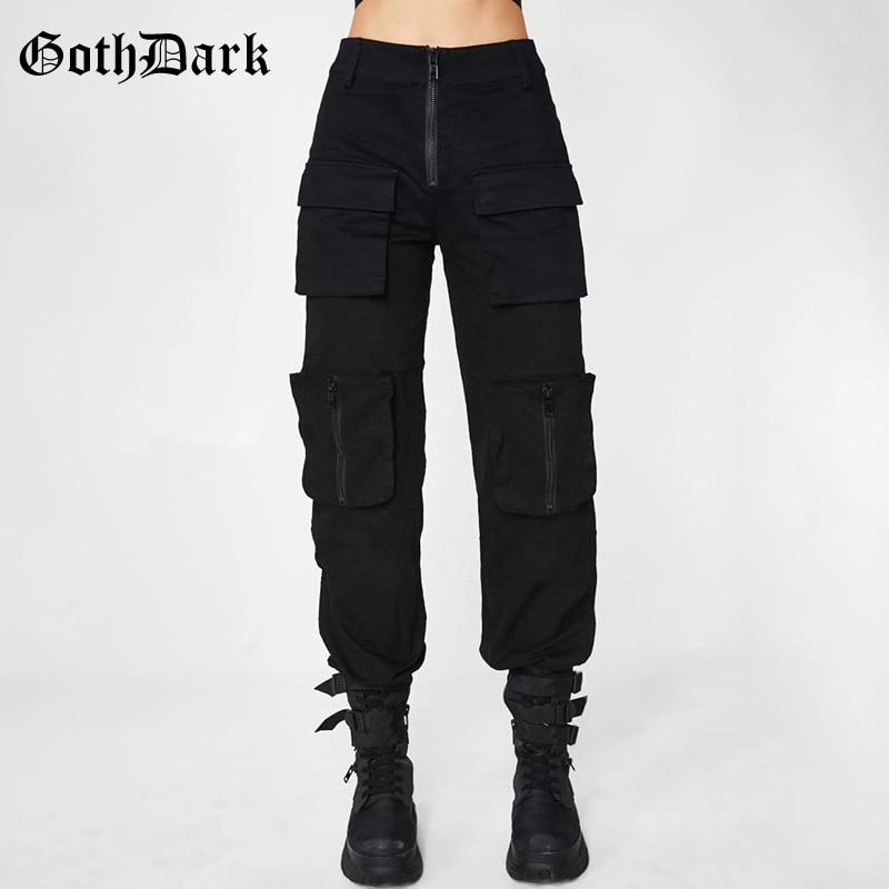 Goth Dark Black Pleated Grunge Gothic Pants For Women Harajuku Punk Patchwork Zipper Pockets Autumn 2019 Fashion Female Trousers