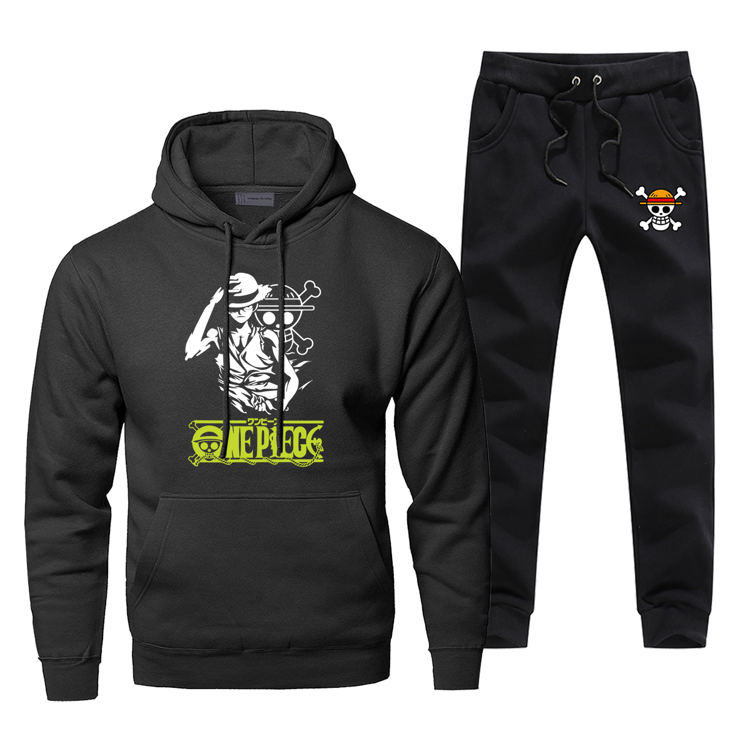 Fashion One Piece Luffy Japanese Anime Hoodies Pants 2pcs Sets Men Sweatshirt Pirate Skull Tracksuit Winter Fleece Sportswear