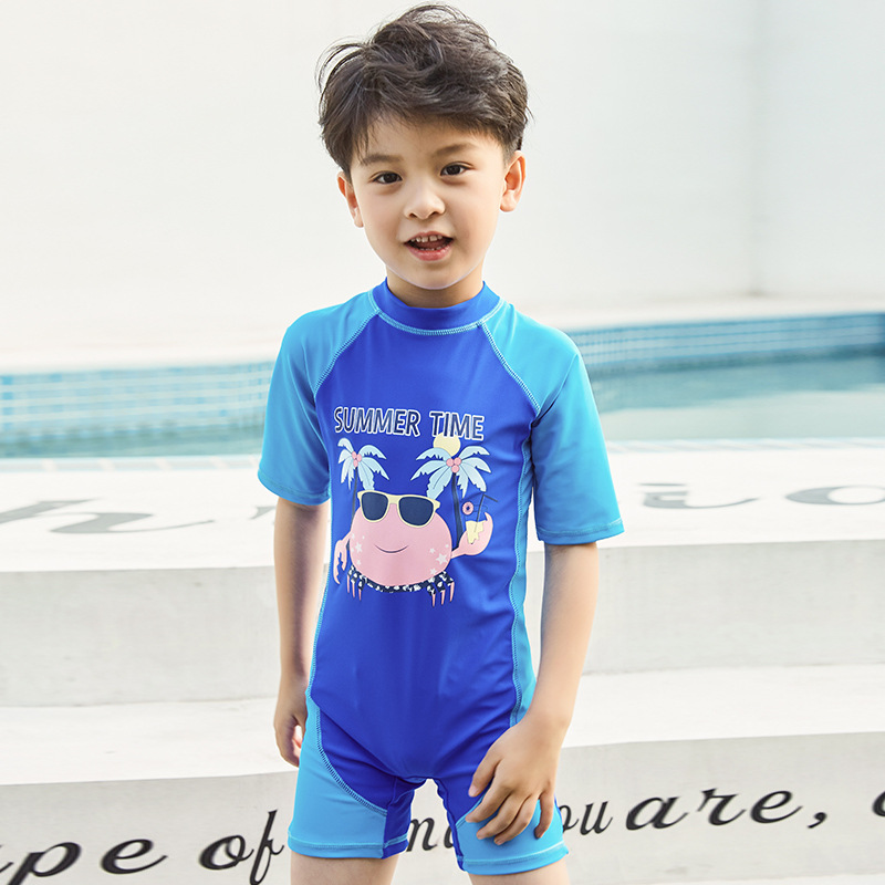 One-piece Boxer Swim Bathing Suit CHILDREN'S Cartoon Cute Boy With Swim Cap Korean-style BOY'S Swimsuit Children Bubble Hot Spri