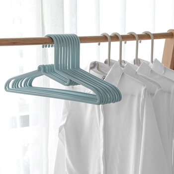 Japanese plastic adult clothes hanger non-slip non-mark clothes hanger Nordic style home with coarse clothing support multi-hook image