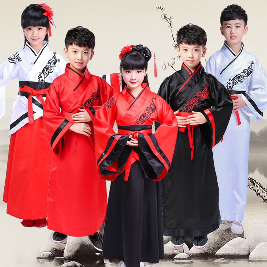 100-170cm Chinese New Year Traditioanl Costumes For Girls Dress Confucius Adult Man Tang Suit Hanfu Dance Performance Boys Gown