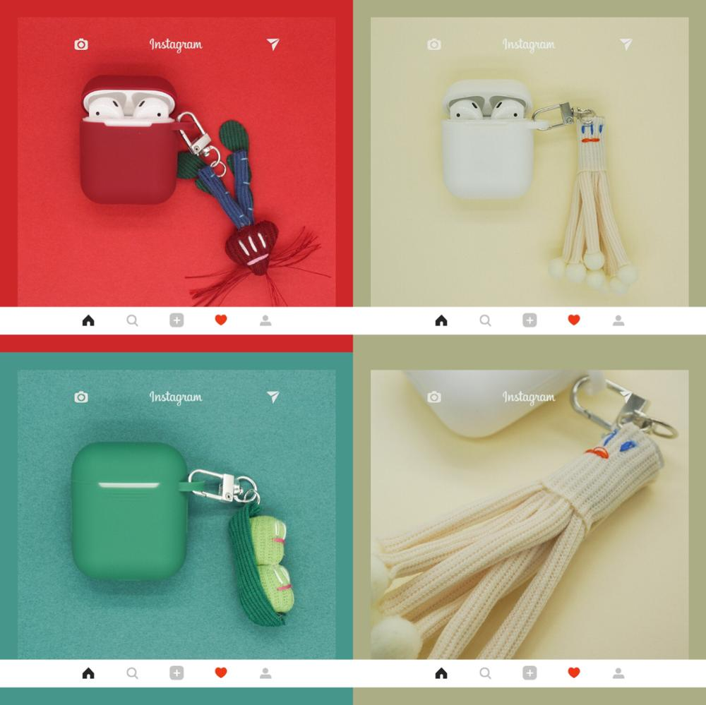 Wool Vegetable Earphone Cover For AirPods Silicone Cases AirPods 2 Edamame carrot enoki mushroom Keychain Cover Accessories