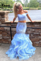 Blue Two Piece Prom Dresses Off Shoulder Mermaid Ruffle Party Dress Prom Gown Evening Dresses Robe De Soiree New Arrival