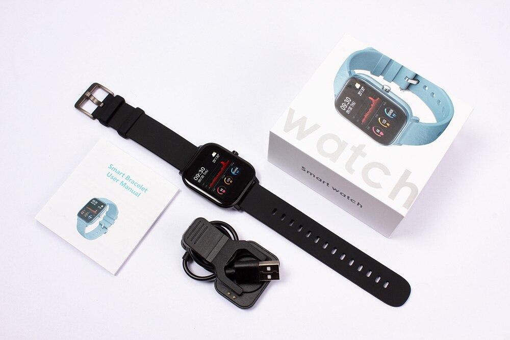 H8fe10a2f80304eada529f7de04cf89e3L 2021 New P8 Color Screen Smart Watch Women men Full Touch Fitness Tracker Blood Pressure Smart Clock Women Smartwatch for Xiaomi