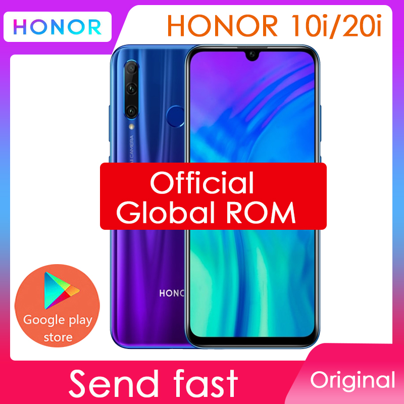Оригинальный Смартфон HONOR 10i 20i honor 20 i, глобальная прошивка, Android, Восьмиядерный, полный экран 6,21 дюйма, двойная камера, 3 слота, сотовый телефон
