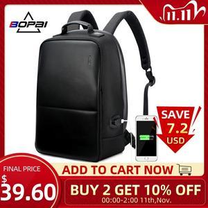 Image 1 - BOPAI Brand Men Laptop Backpack USB External Charge Computer Shoulders Anti theft Backpack 15 Inch Waterproof Laptop Backpack
