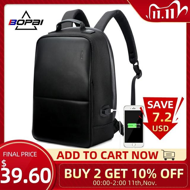 BOPAI Brand Men Laptop Backpack USB External Charge Computer Shoulders Anti theft Backpack 15 Inch Waterproof Laptop Backpack