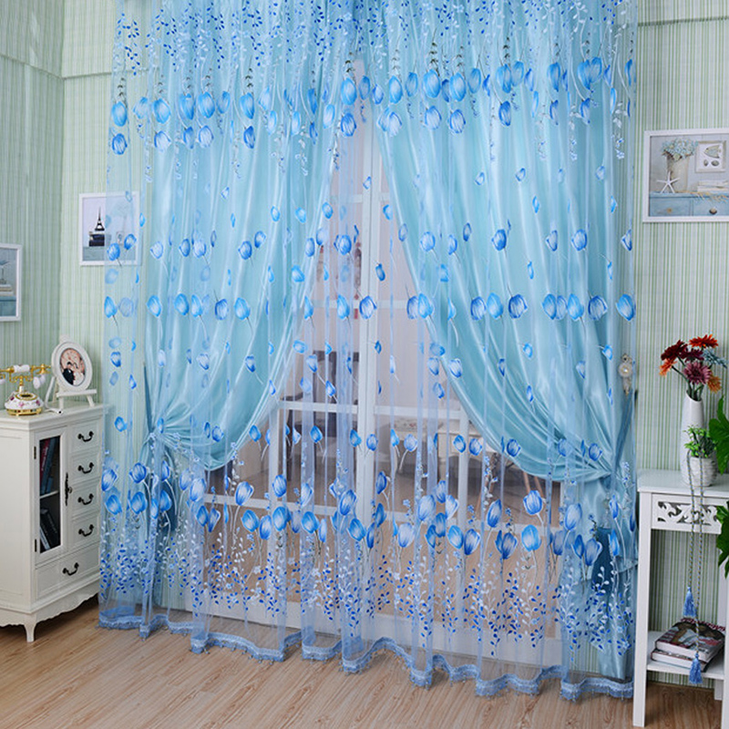 1Pcs/Set Charm Tulip Flower Yarn Sheer Window Curtain Beads Tassel Door Scarf Drapes For Bedroom Decor 3 Colors