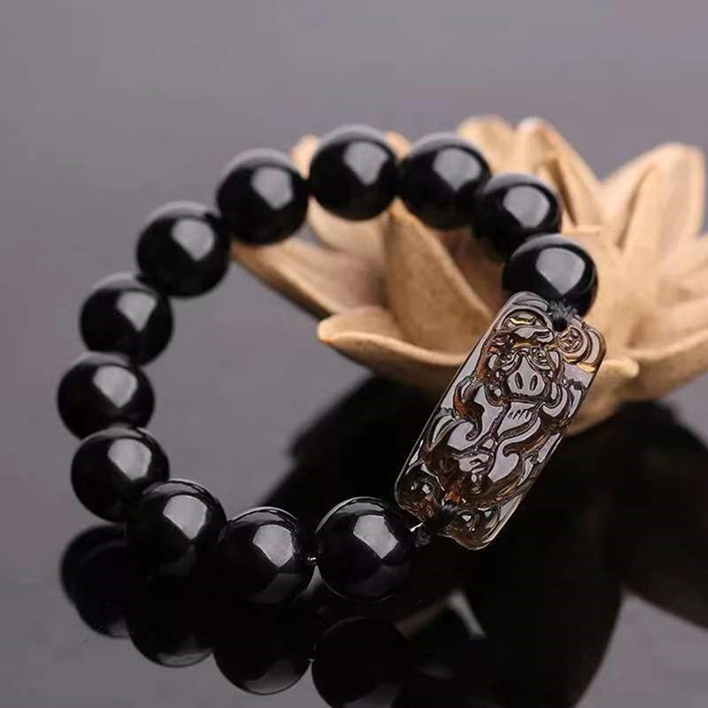 Chinese Feng Shui Obsidian Pi Xiu Bracelet Bead Wealth Luck Stretch Wristband Bracelet QDD9802