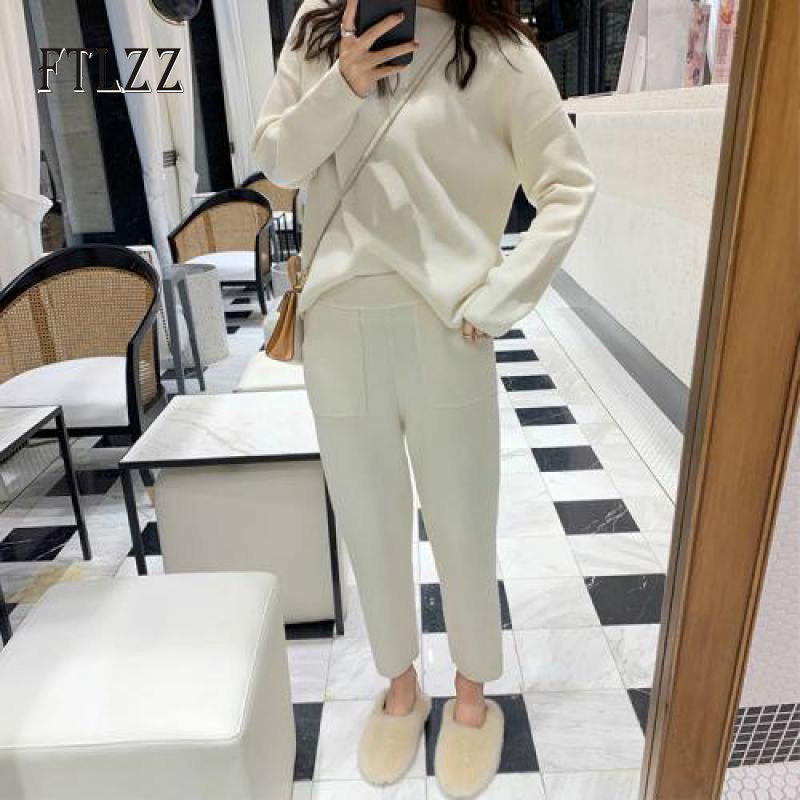 Autumn Winter Sweater Two Piece Set Women Pullover Tops + Wide Leg Pants Knitted Suit 2019 New  Woman Clothes 2 Pcs Outfit