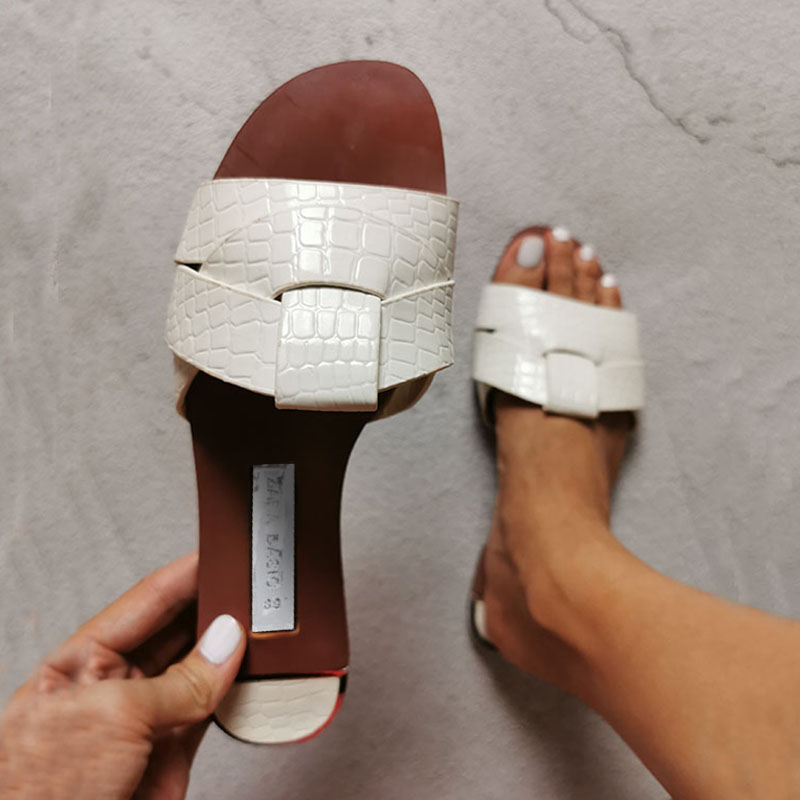 Summer Women Sandals Fashion Snake Skin Wild Outdoor Women Slides Large Size Simple Light And Comfortable Women's Shoes