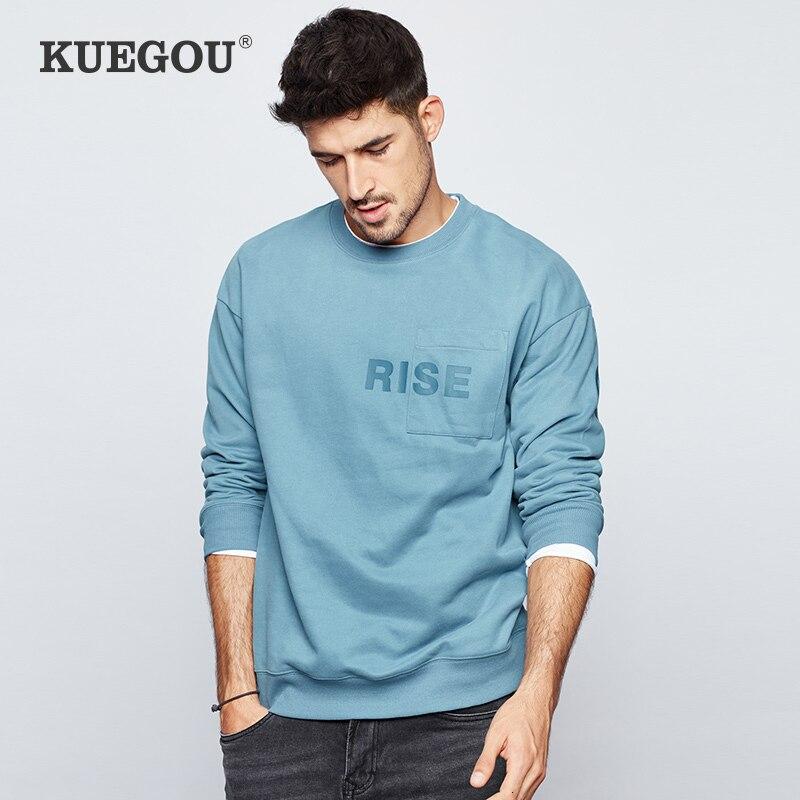 KUEGOU 2019 Autumn Cotton Print Pocket Black Sweatshirts Men Fashion Japanese Streetwear Hip Hop For Male Clothes Plus Size 1736