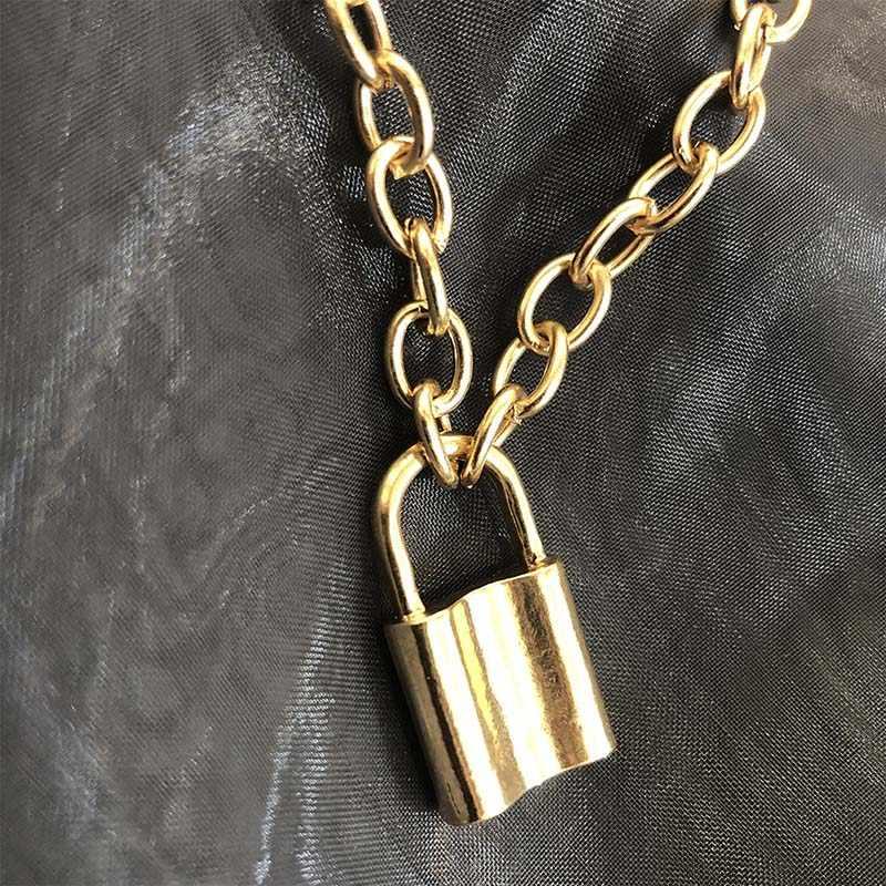 Warna Perak Wanita Perhiasan Gembok Liontin Kalung Rantai Kabel Kalung Persahabatan Hadiah