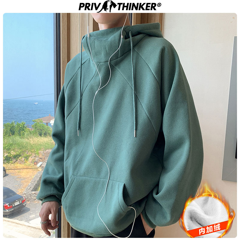 Privathinker Winter Warm Thicken Fleece Hoodies Solid Color Loose Hooded Sweatshirts 2019 Korean Turtleneck Pullover Tops